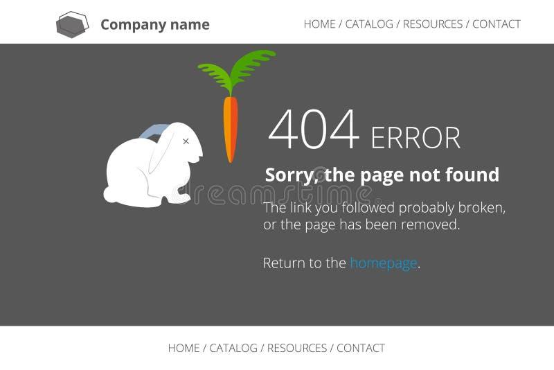 Pagina gevonden niet Fout 404 met dood konijn royalty-vrije illustratie