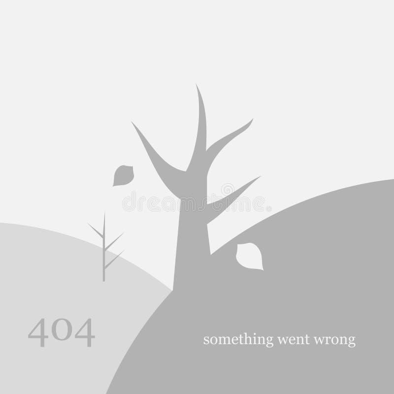 404 pagina gevonden niet ontwerpmalplaatje Dode Boom en Dalende Bladeren het concept van de 404 foutenpagina Vector illustratie stock illustratie