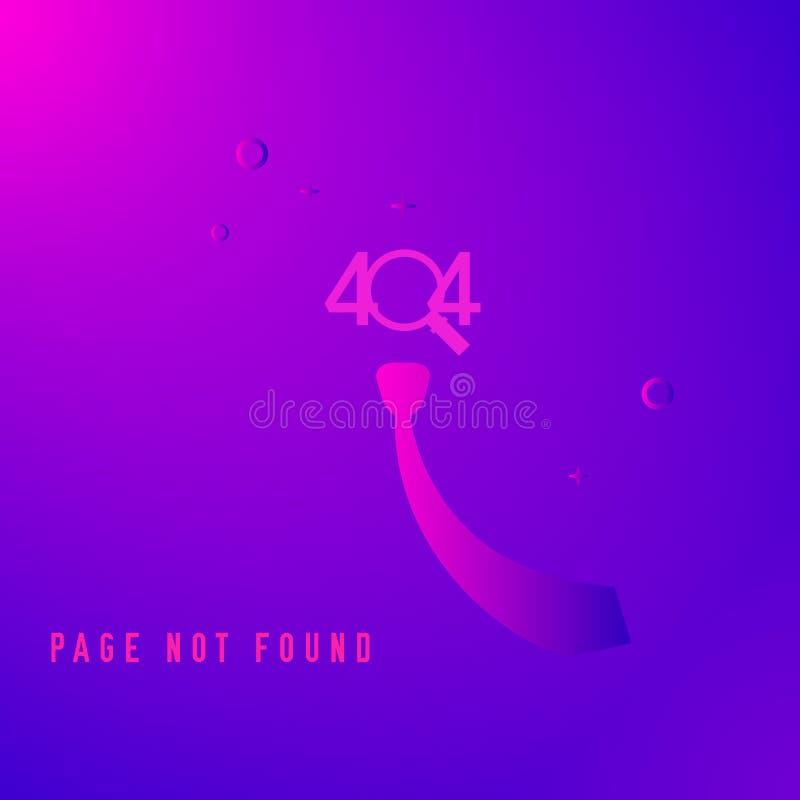 404 pagina gevonden niet ontwerpmalplaatje Golvende Band, Magnifier het concept van de 404 foutenpagina Vector illustratie royalty-vrije illustratie