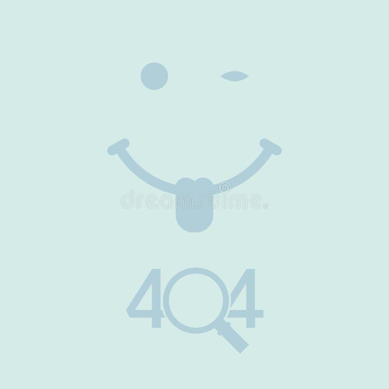 404 pagina gevonden niet ontwerpmalplaatje Het knipogen het Glimlachen Gezicht, Magnifier het concept van de 404 foutenpagina Vec stock illustratie