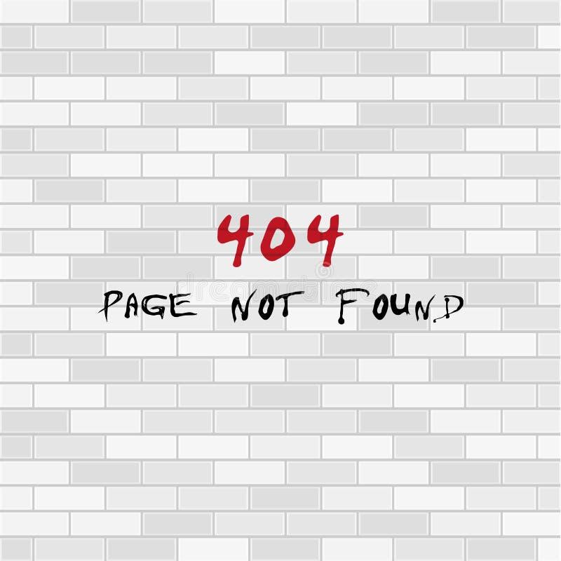 404 pagina gevonden niet ontwerpmalplaatje Witte bakstenen muur het concept van de 404 foutenpagina Vector illustratie stock illustratie