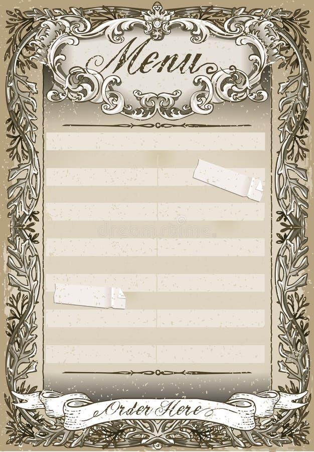 Pagina grafica d'annata per il menu del ristorante illustrazione di stock