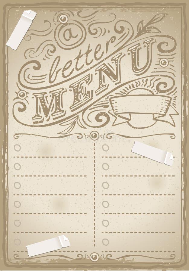 Pagina grafica d'annata per il ristorante illustrazione di stock