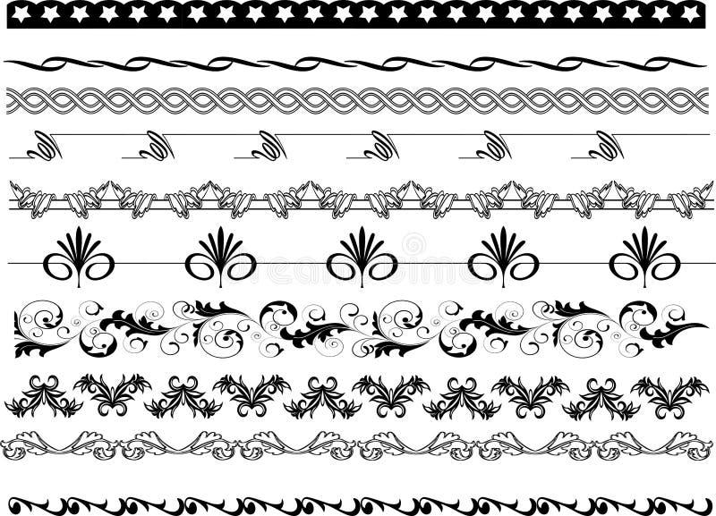 Pagina i modelli degli angoli, i confini e le progettazioni floreali illustrazione di stock