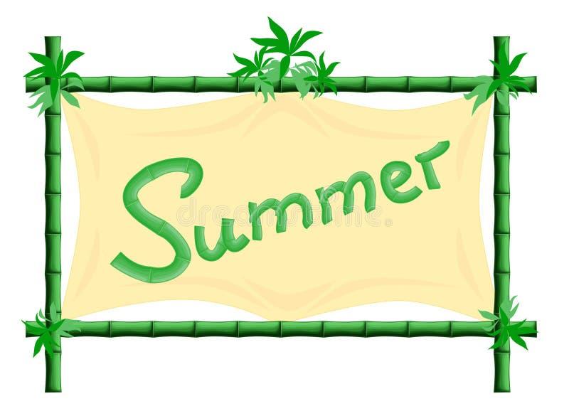 Pagina il bambù con bambù con l'estate del testo della tela illustrazione vettoriale