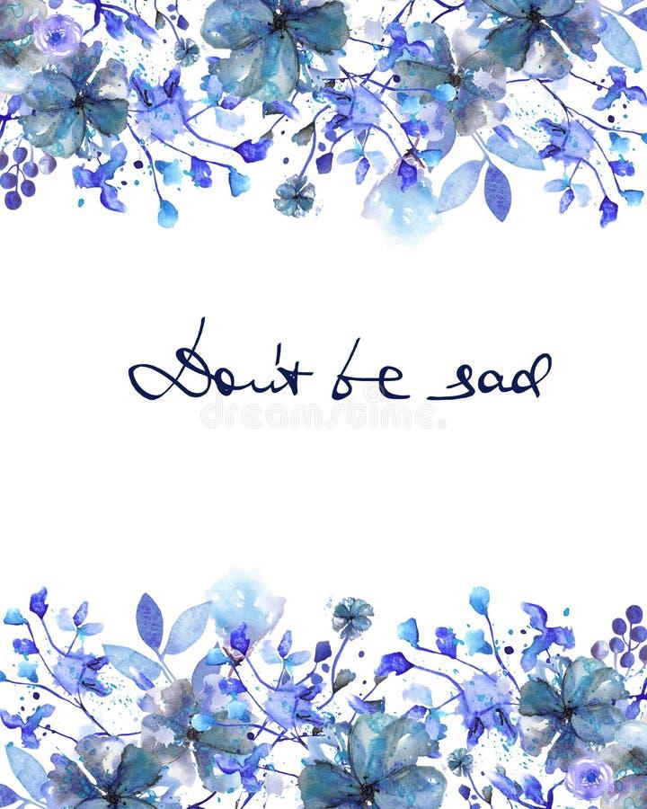 Pagina il confine, il modello per la cartolina con i fiori blu scuro ed i rami con le foglie blu dipinte in acquerello su un BAC  royalty illustrazione gratis