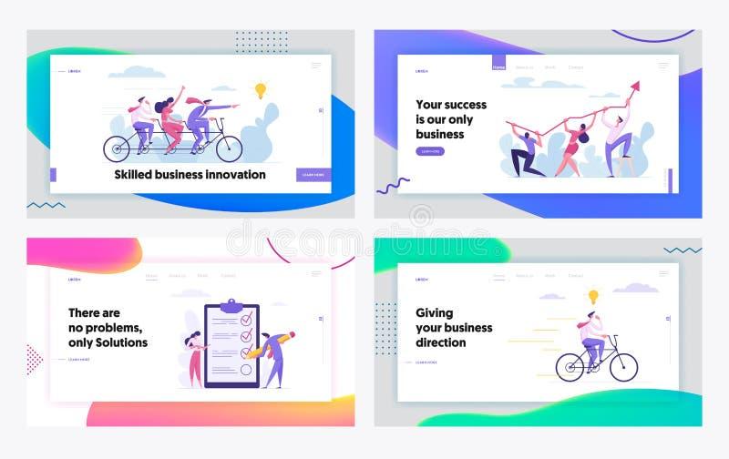 Pagina iniziale dedicata alla cooperazione creativa per lo sviluppo del successo delle imprese innovative Concetto di successo Ca royalty illustrazione gratis