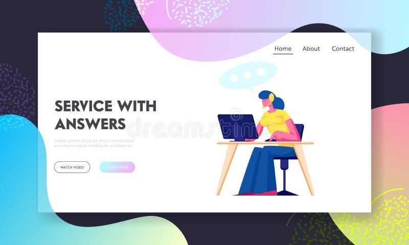 Pagina iniziale sito Web Centro supporto tecnico Personale del servizio tecnico femminile con cuffia che lavora sul computer illustrazione vettoriale