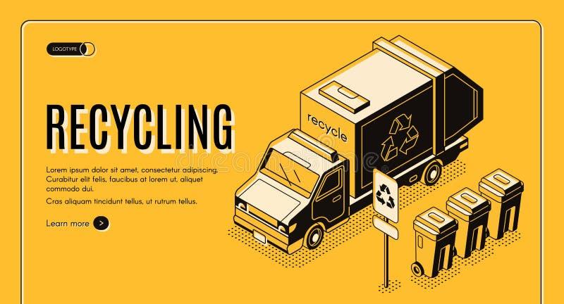 Pagina isometrica di atterraggio di vettore di riciclaggio dei rifiuti illustrazione vettoriale