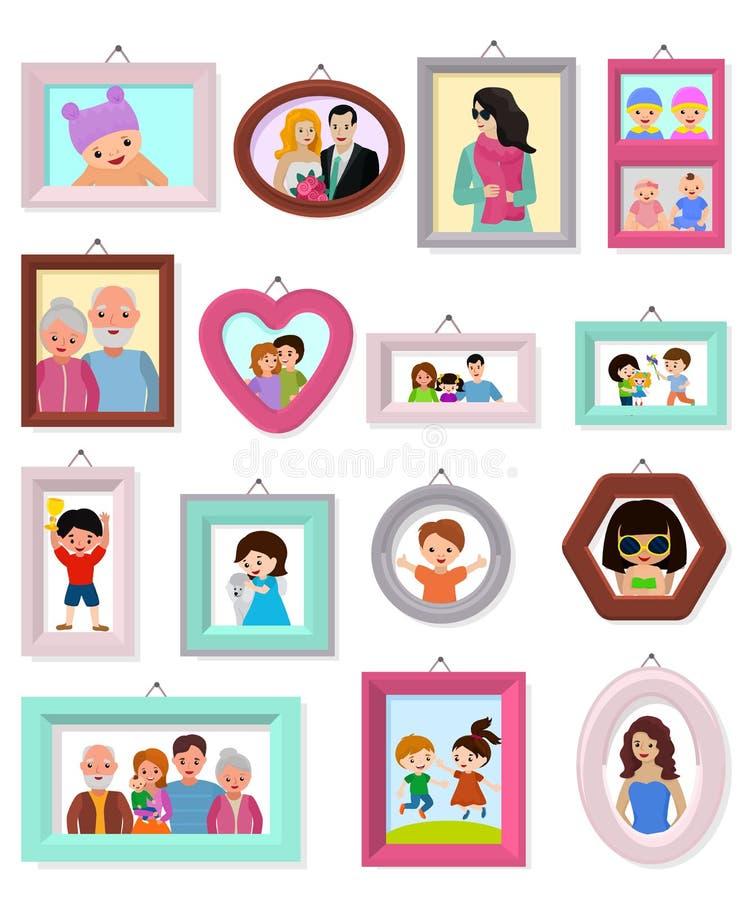 Pagina l'immagine dell'inquadratura di vettore o la foto di famiglia per l'insieme dell'illustrazione della decorazione della par illustrazione vettoriale