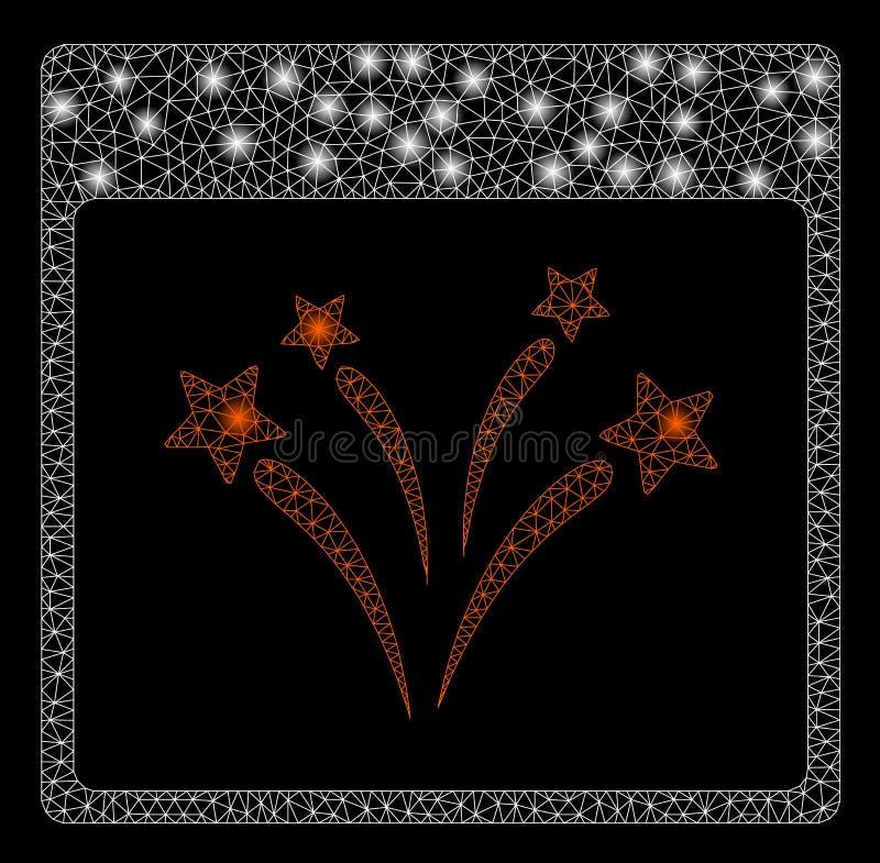 Pagina luminosa di Mesh Wire Frame Fireworks Calendar con i punti del chiarore illustrazione vettoriale
