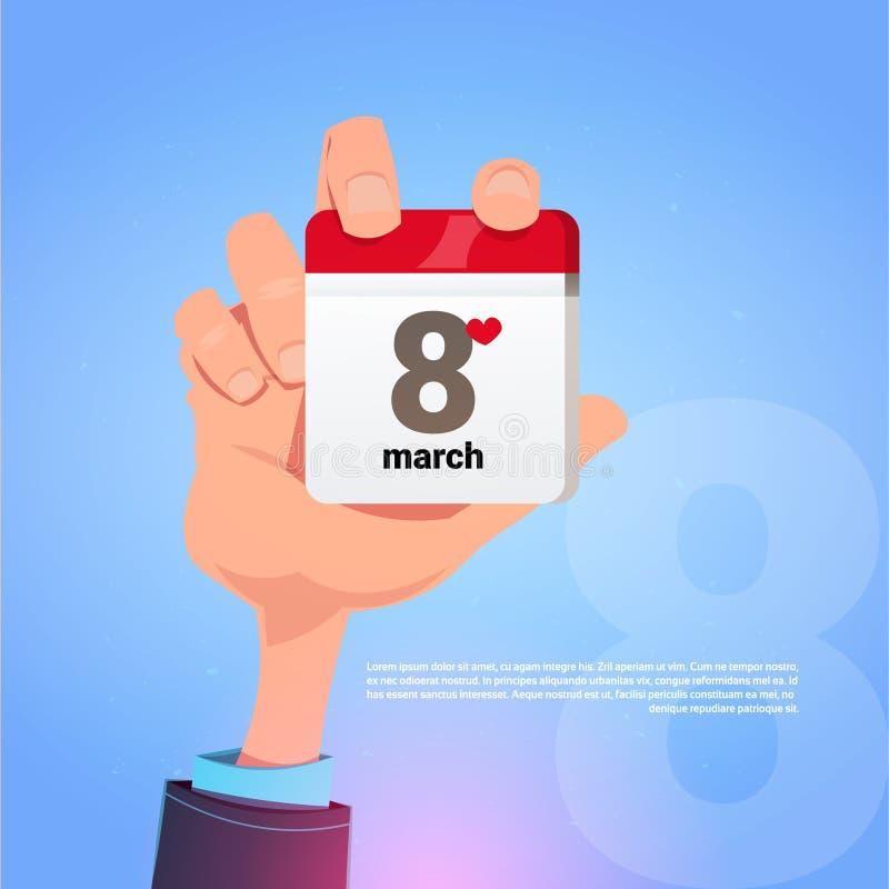 Pagina maschio del calendario della tenuta della mano con il concetto internazionale felice di festa di giorno delle donne della  illustrazione vettoriale