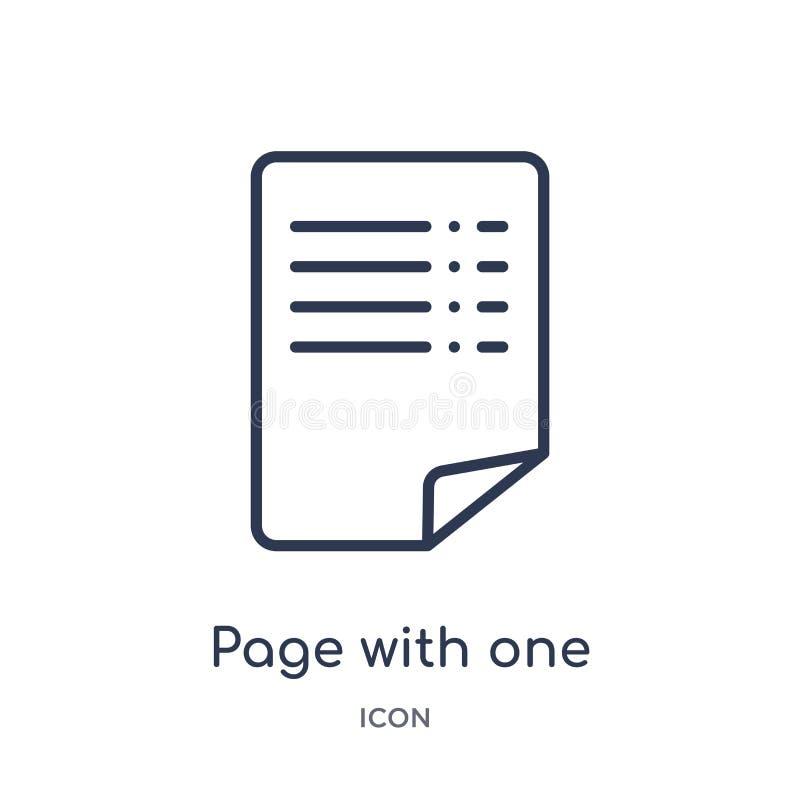 pagina met één gekruld hoekpictogram van de inzameling van het gebruikersinterfaceoverzicht Dunne geïsoleerde lijnpagina met één  stock illustratie
