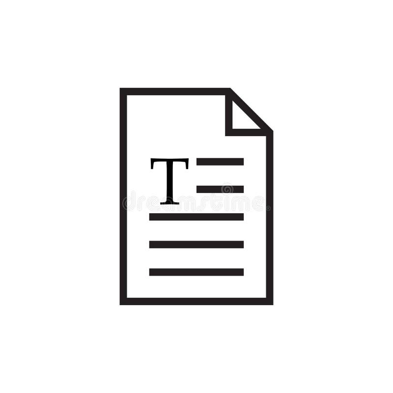 pagina met brief T het pictogram van het tekstdocument, webpaginasymbool, bureaubestandsindeling Vector illustratie die op witte  vector illustratie