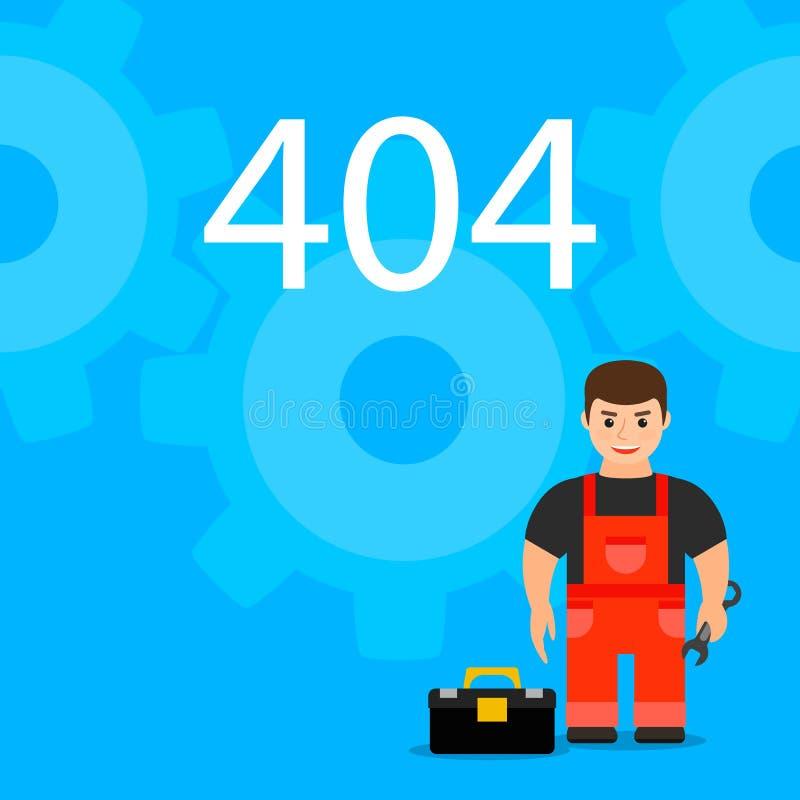 Pagina 404 met de hoofdwerktuigkundige of de hersteller Web oops fout o vector illustratie