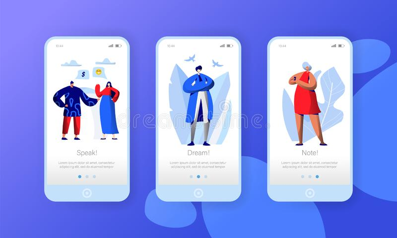 Pagina mobile del App di media della rete del carattere sociale di affari a bordo dell'insieme dello schermo La gente chiacchiera royalty illustrazione gratis