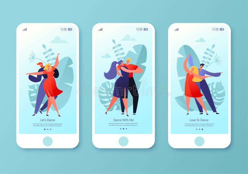 Pagina mobile del app, insieme dello schermo Concetto per il sito Web con la gente ballante felice piana delle coppie Giovani e d illustrazione di stock