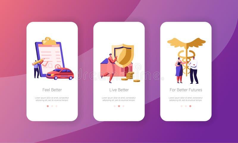 Pagina mobile della proprietà, dell'automobile e del App di assicurazione-malattia di salute a bordo dell'insieme dello schermo C illustrazione vettoriale