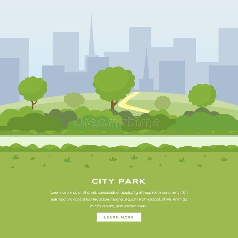 Pagina moderna di atterraggio di vettore del parco della città Alberi e passaggio pedonale verdi dei cespugli, cityspace dei grat illustrazione di stock