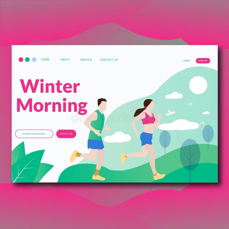 Pagina moderna piana di atterraggio dell'illustrazione di vettore di mattina di inverno illustrazione di stock
