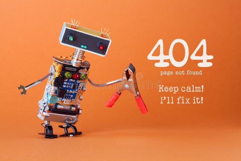 Pagina non trovata della pagina di errore 404 Tenga la correzione del ll del ` di calma I  Giocattolo robot amichevole con le pin fotografia stock libera da diritti