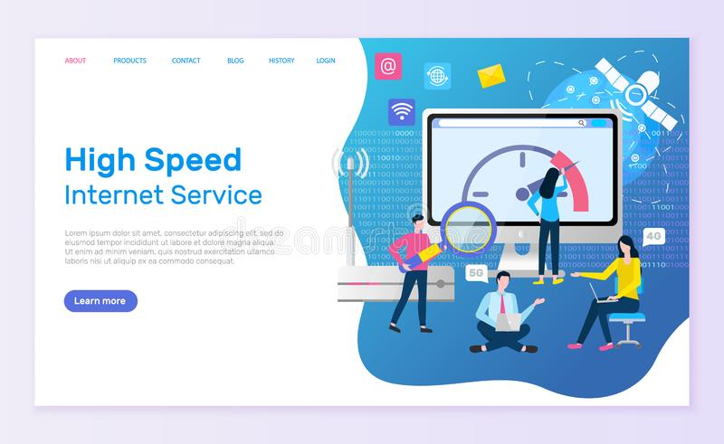 Pagina online e la gente di servizio di Internet ad alta velocit? royalty illustrazione gratis