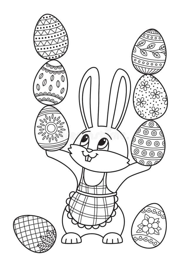 pagina Paasdoedelen in het boek Kute bunny met eitjes stock illustratie