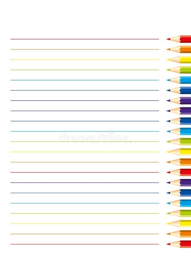 Pagina per il taccuino con le matite colorate isolate: linee orizzontali rosse, arancio, blu, blu-chiaro, viola, verdi, gialle e  illustrazione vettoriale