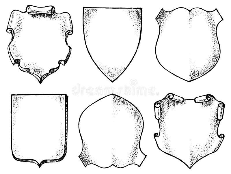 Pagina per l'emblema nazionale Araldica nello stile d'annata Insegne e modelli per le iscrizioni e la stemma Vettore illustrazione di stock