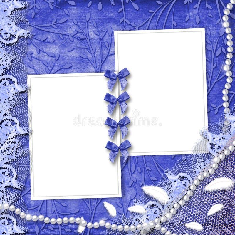 Pagina per la foto con le perle ed il merletto illustrazione vettoriale