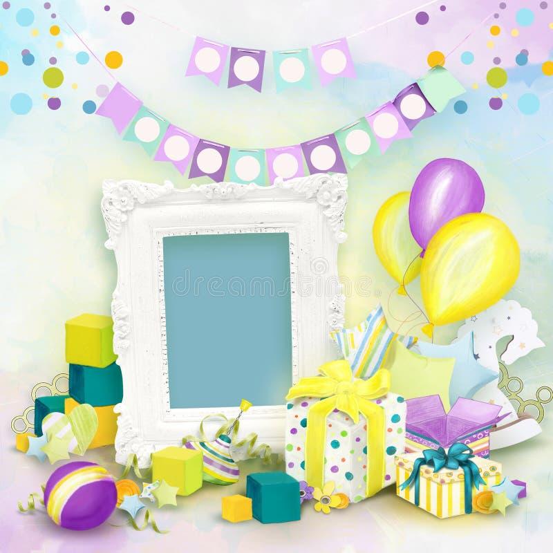 Pagina per le foto di compleanno nello stile dell'album per ritagli illustrazione vettoriale