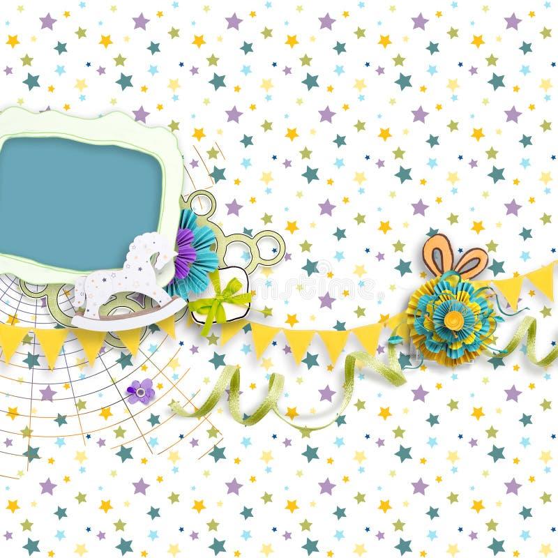 Pagina per le foto di compleanno nello stile dell'album per ritagli fotografie stock