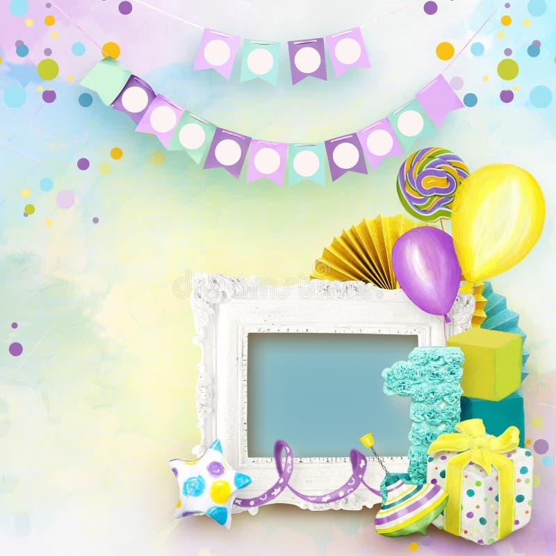 Pagina per le foto di compleanno nello stile dell'album per ritagli royalty illustrazione gratis