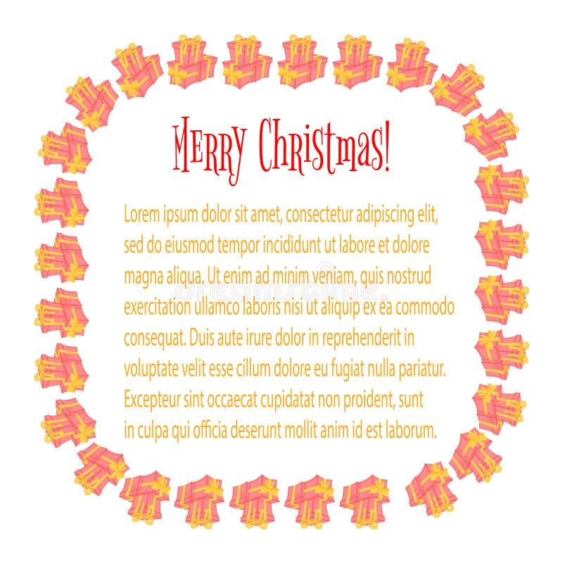 Pagina per una foto Carte con i regali di Natale Scatole sveglie per il giorno del ` del biglietto di S. Valentino e di compleann royalty illustrazione gratis