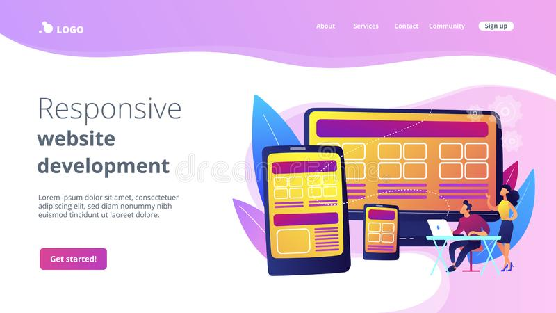 Pagina rispondente di atterraggio di concetto di web design royalty illustrazione gratis