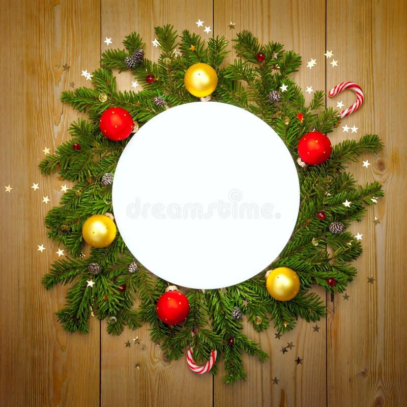 Pagina rotonda della decorazione di Natale, annata immagine stock