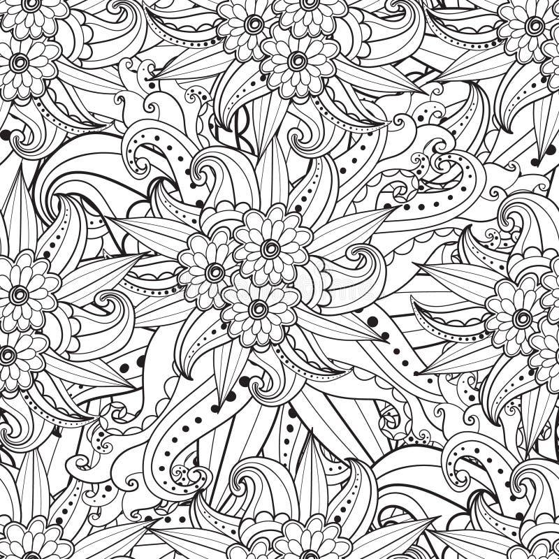 Pagina's voor volwassen kleurend boek Hand getrokken artistiek etnisch sier gevormd bloemenkader in krabbel vector illustratie