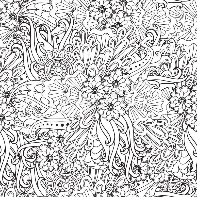 Pagina's voor volwassen kleurend boek Hand getrokken artistiek etnisch sier gevormd bloemenkader in krabbel royalty-vrije illustratie