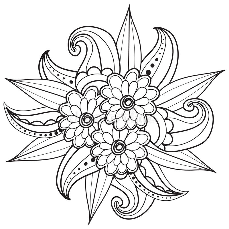 Pagina's voor volwassen kleurend boek Hand getrokken sier gevormd bloemenkader in krabbelstijl vector illustratie