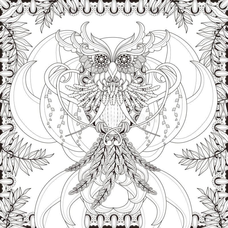 Pagina splendida di coloritura del gufo royalty illustrazione gratis