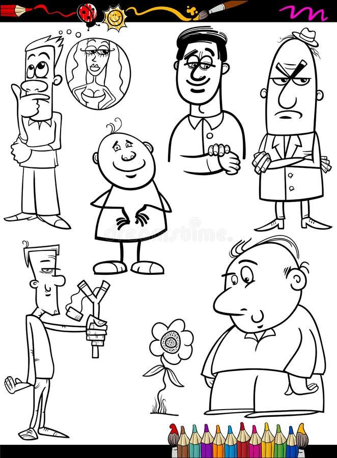 Pagina stabilita di coloritura del fumetto della gente royalty illustrazione gratis
