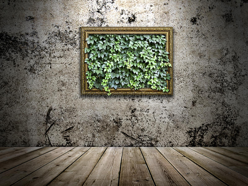 Pagina sulla parete di pietra con le foglie verdi dentro fotografia stock libera da diritti