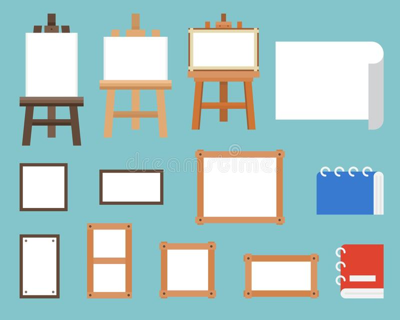 Pagina, supporto del cavalletto e tela, progettazione piana dell'attrezzatura di arte illustrazione di stock