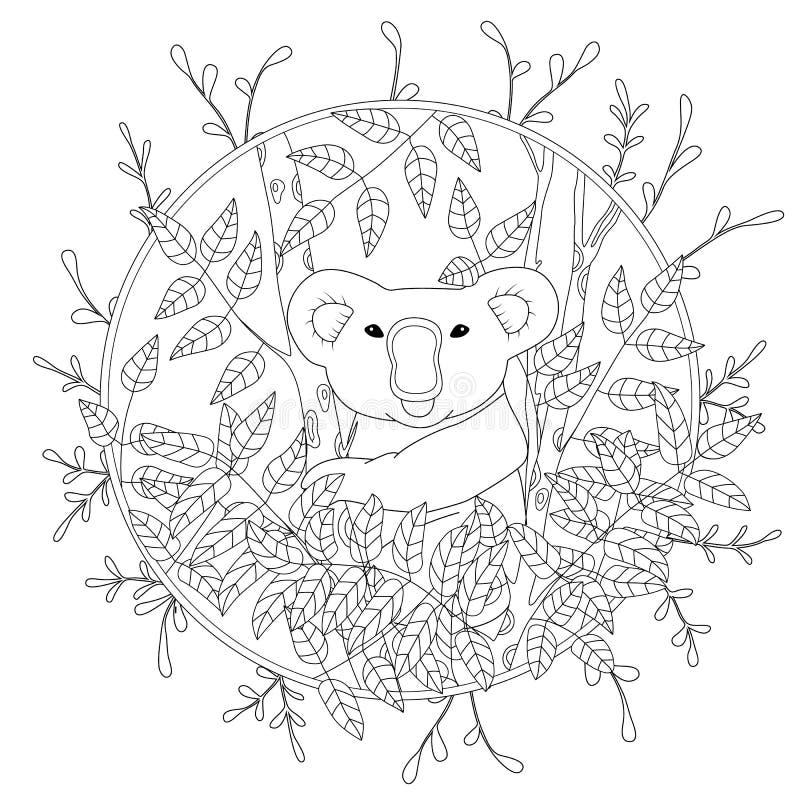 Pagina sveglia di coloritura di vettore con la koala che scala sull'illustrazione dell'albero di eucalyptus a colori, disegnato a illustrazione vettoriale