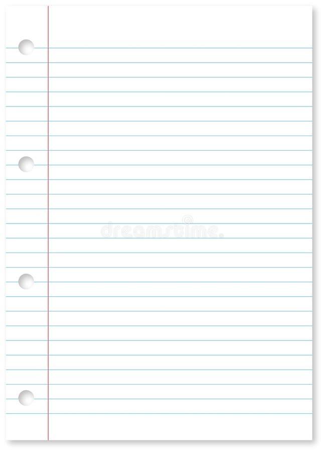 Pagina van een spiraal - het verbindende bindmiddel van het notastootkussen van Witboek en blauwe lijnen met gaten en exemplaarru royalty-vrije illustratie