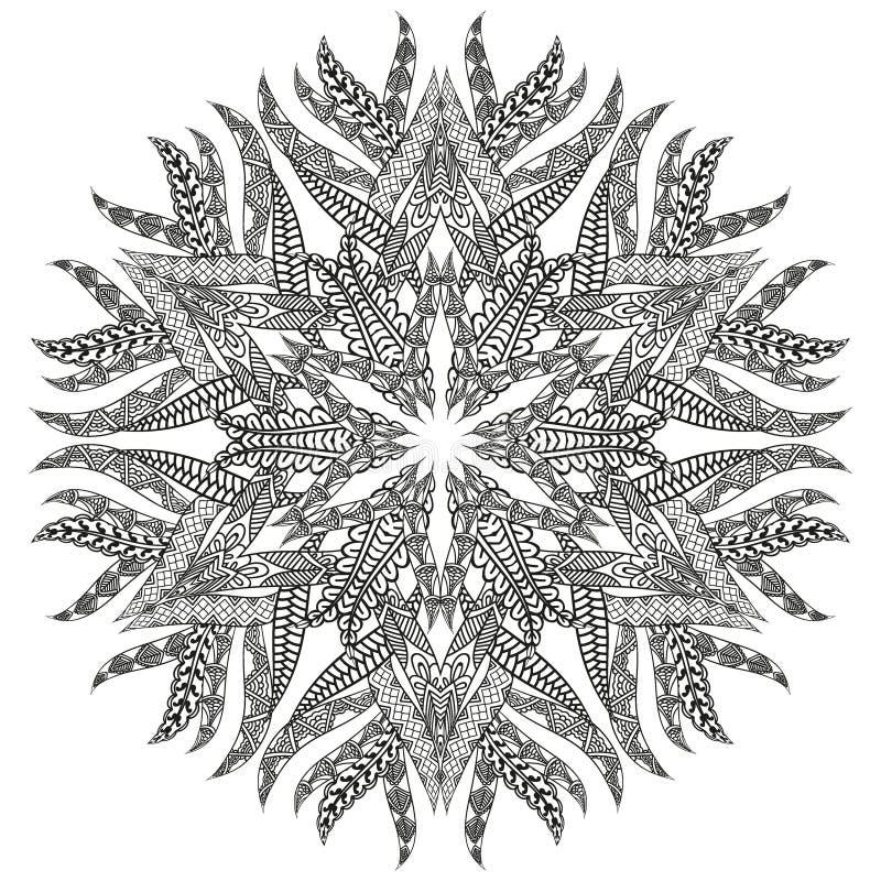 Pagina van het antispannings kijkt de Kleurende Boek met Mandala, als hand-drawn overladen patroon stock illustratie
