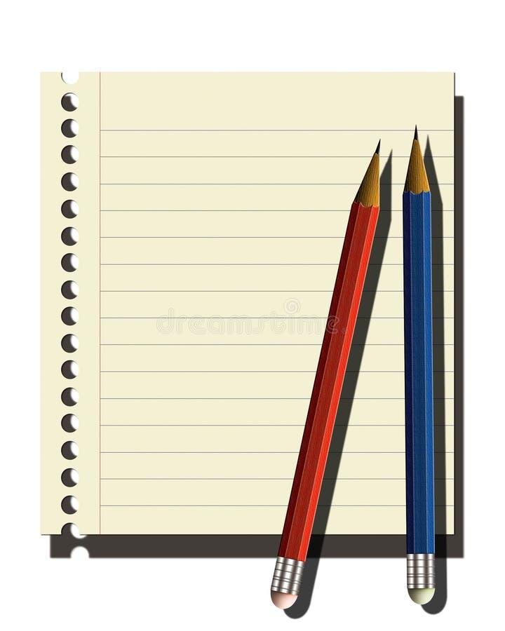 Pagina van notitieboekje, 2 potloden stock illustratie
