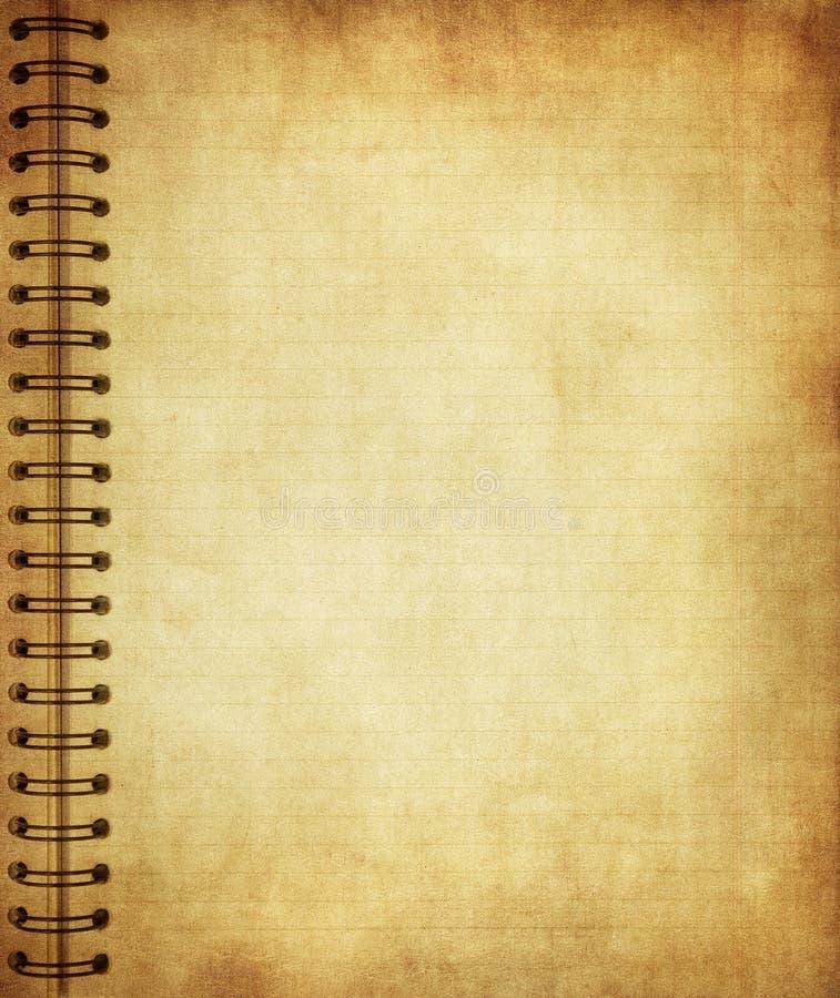 Pagina van oud grungenotitieboekje stock illustratie