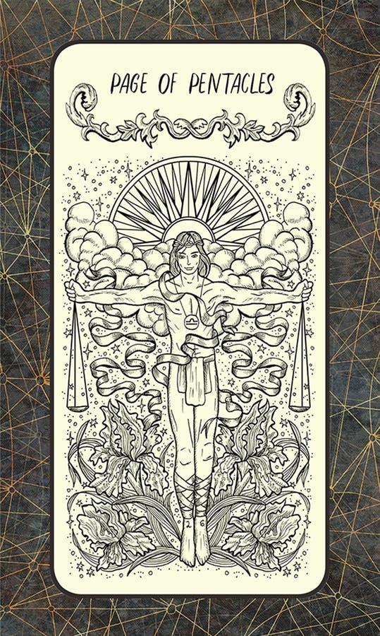 Pagina van pentacles De Magische kaart van het Poorttarot vector illustratie
