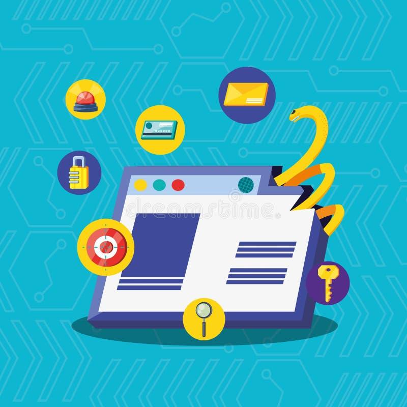 Pagina Web con sicurezza cyber delle icone stabilite illustrazione vettoriale